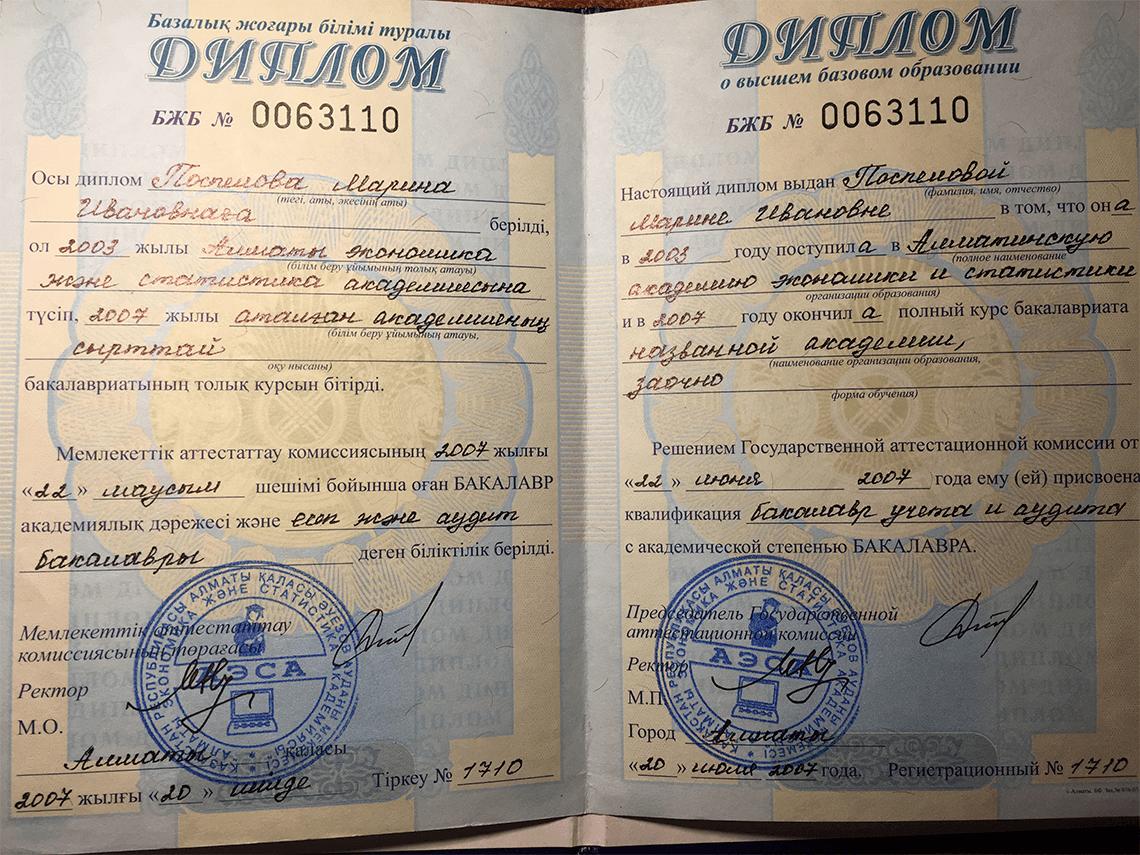 диплом Поспеловой Марины